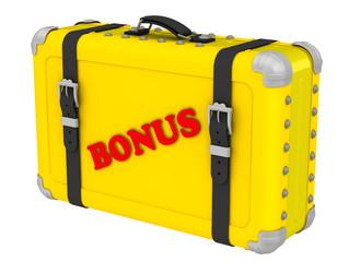 Бонус (Bonus). Надпись на желтом чемодане