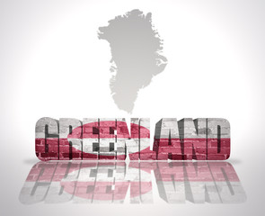 Word Greenland on a map background