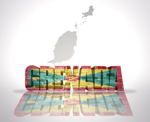Word Grenada on a map background