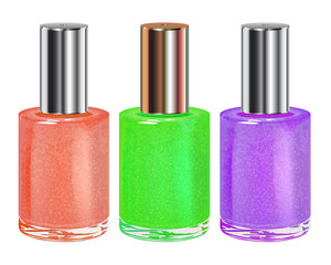 Nail polish with silver cap. Vector set.