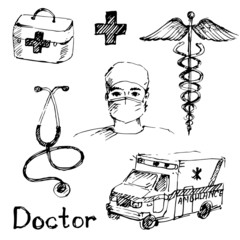 Hand drawn medical icons sketch.