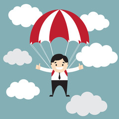 Businessman showing thumb up flyimg with parachute in the sky.