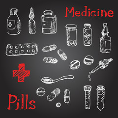 medical icons sketch with pills and tablets.