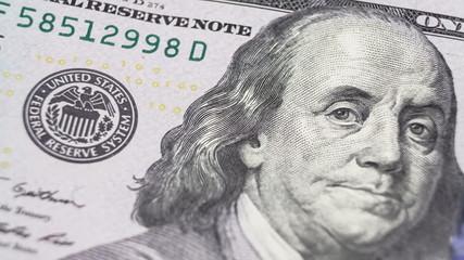 Close up of new hundred dollar bill.