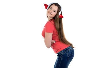 Photo of cute teenage girl in xmas headphones