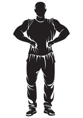 Vector image with bodybuilder