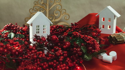 Beautiful Christmas composition with small house