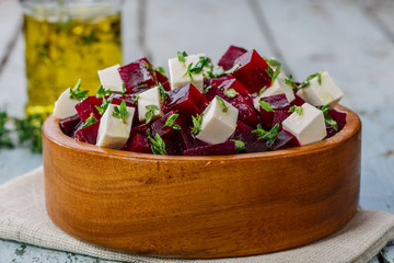 beet salad and feta cheese
