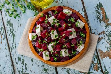 beet salad and feta cheese