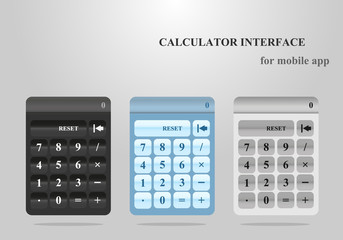 Calculator interface for mobile app