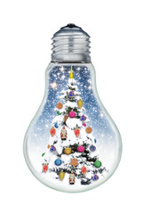 Christmas tree inside a bulb isolated on a white background