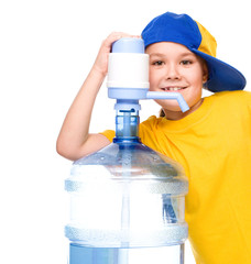 Cute girl with large water bottle
