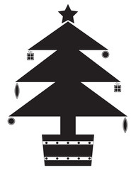 Christmas Tree Silhouette with Decorations