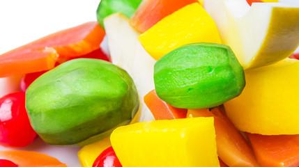 Mix variety of pickled fruit of papaya, mango, cherry and jicama