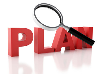 3d plan and a magnifying glass on white background