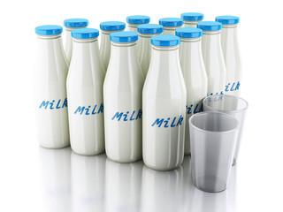 3d illustration. Milk bottles and glass on white background