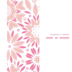 Vector pink abstract flowers vertical frame seamless pattern