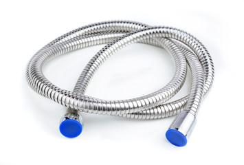Modern chrome hose isolated on white.