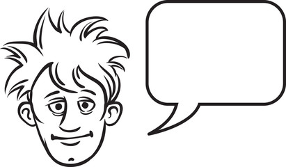 whiteboard drawing - teenager face with speech bubble