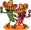 two dancing cartoon mexican peppers - 75188557