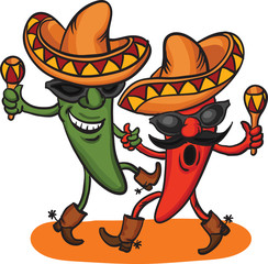 two dancing cartoon mexican peppers