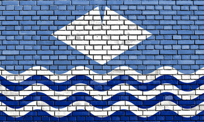 flag of Isle of Wight painted on brick wall