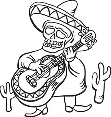 whiteboard drawing - mexican traditional character with guitar