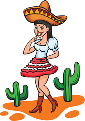 cartoon mexican girl in traditional dress