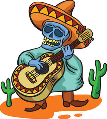 mexican traditional character with guitar