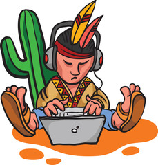 cartoon mexican character with laptop computer