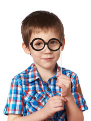 Little smart boy with glasses mask on stick isolated