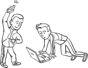 whiteboard drawing - internet start