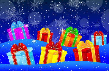 bright boxes with gifts on to snow