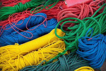 Variety of colored twisted rope