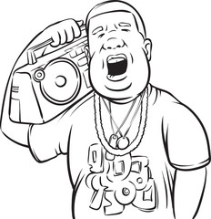 whiteboard drawing - black man with boombox on shoulder