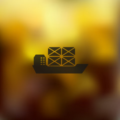 ship icon on blurred background