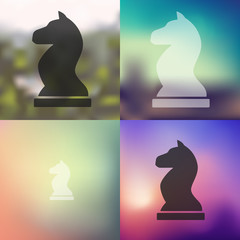 chess icon on blurred background