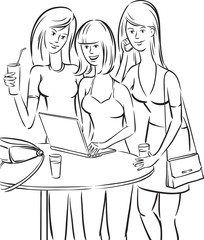 whiteboard drawing - women meeting