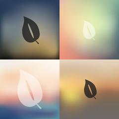 leaf icon on blurred background