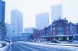 大雪の東京駅丸の内口 - 75191931