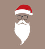 hat, beard and glasses Santa