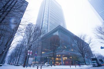 大雪の丸の内ビル