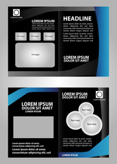 Vector black brochure template design with blue elements