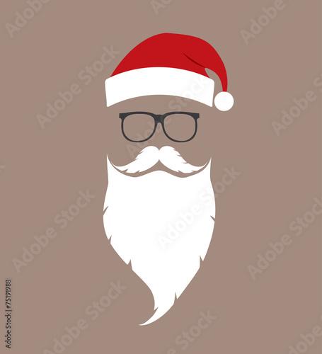 hat, beard and glasses Santa - 75191988