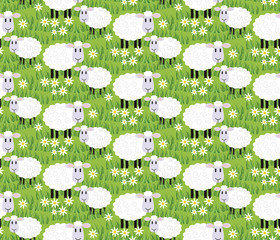 Sheep's in grass seamless background
