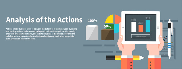 Analysis actions. Concept of businessman using mobile phone