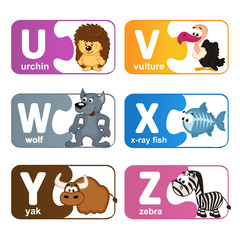 stickers alphabet animals from U to Z - vector illustration, eps