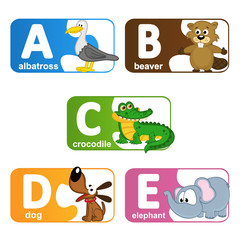 stickers alphabet animals from A to E - vector illustration, eps