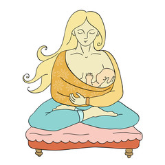 Yoga - The girl with the child (vector)