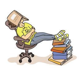The student sleeps under the book (vector)